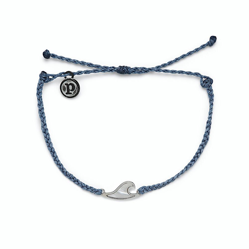 Pura Vida Charm Bracelet Mother of Pearl Wave - Steel Blue/Silver