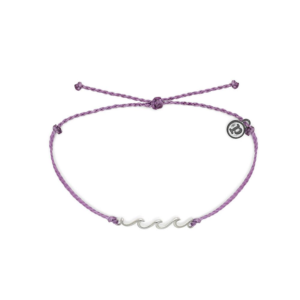 Pura Vida Delicate Wave Bracelet - Silver/Light Purple