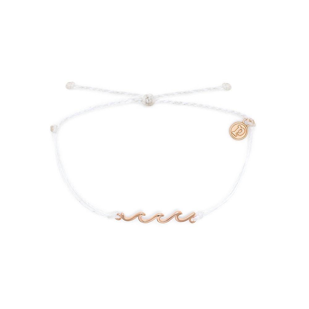 Pura Vida Delicate Wave Bracelet - Rose Gold/White
