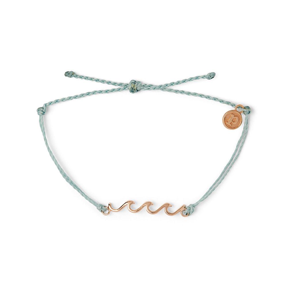 Pura Vida Delicate Wave Bracelet - Rose Gold/Smoke Blue