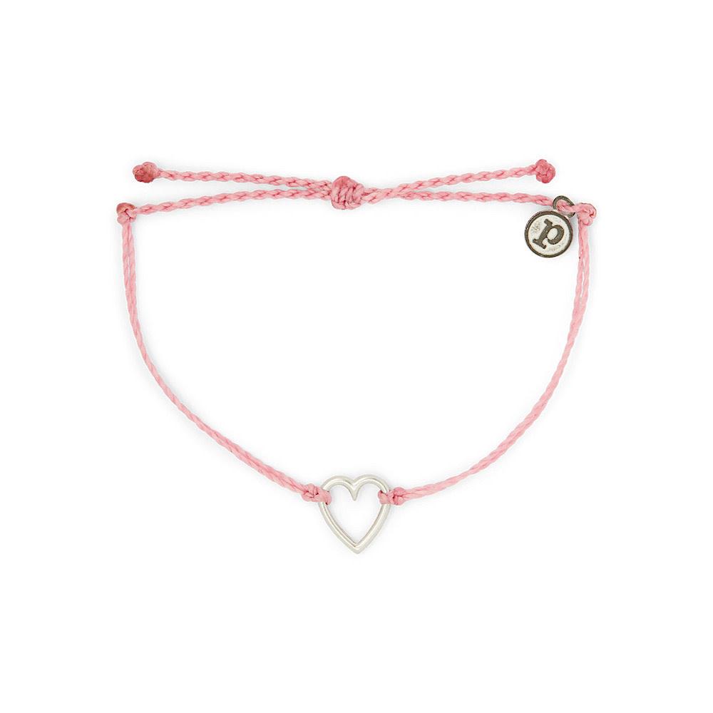 Pura Vida Open Heart Bracelet - Silver/Light Pink