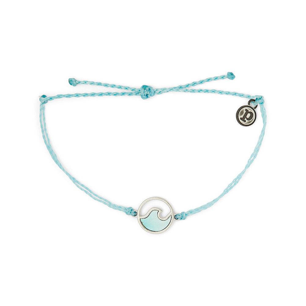 Pura Vida Stone Wave Bracelet - Silver/Crystal Blue