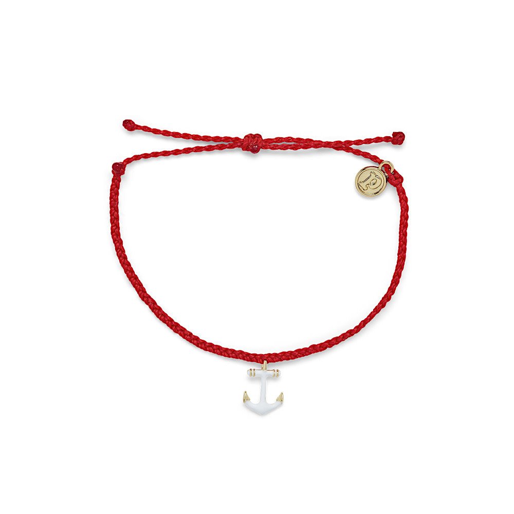 Pura Vida Anchors Away Bracelet - Gold Anchor - Ruby Red