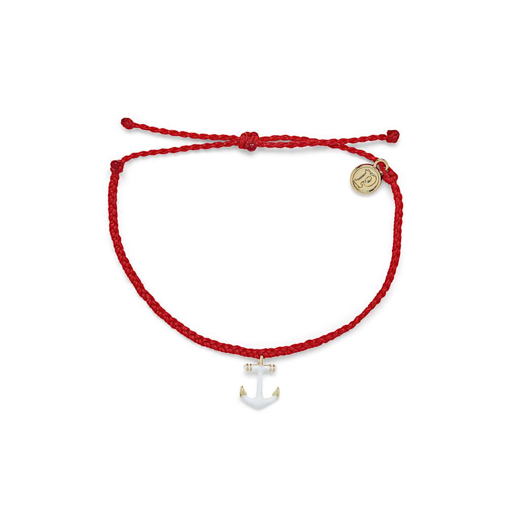 Pura Vida Pura Vida Anchors Away Bracelet - Gold Anchor - Ruby Red