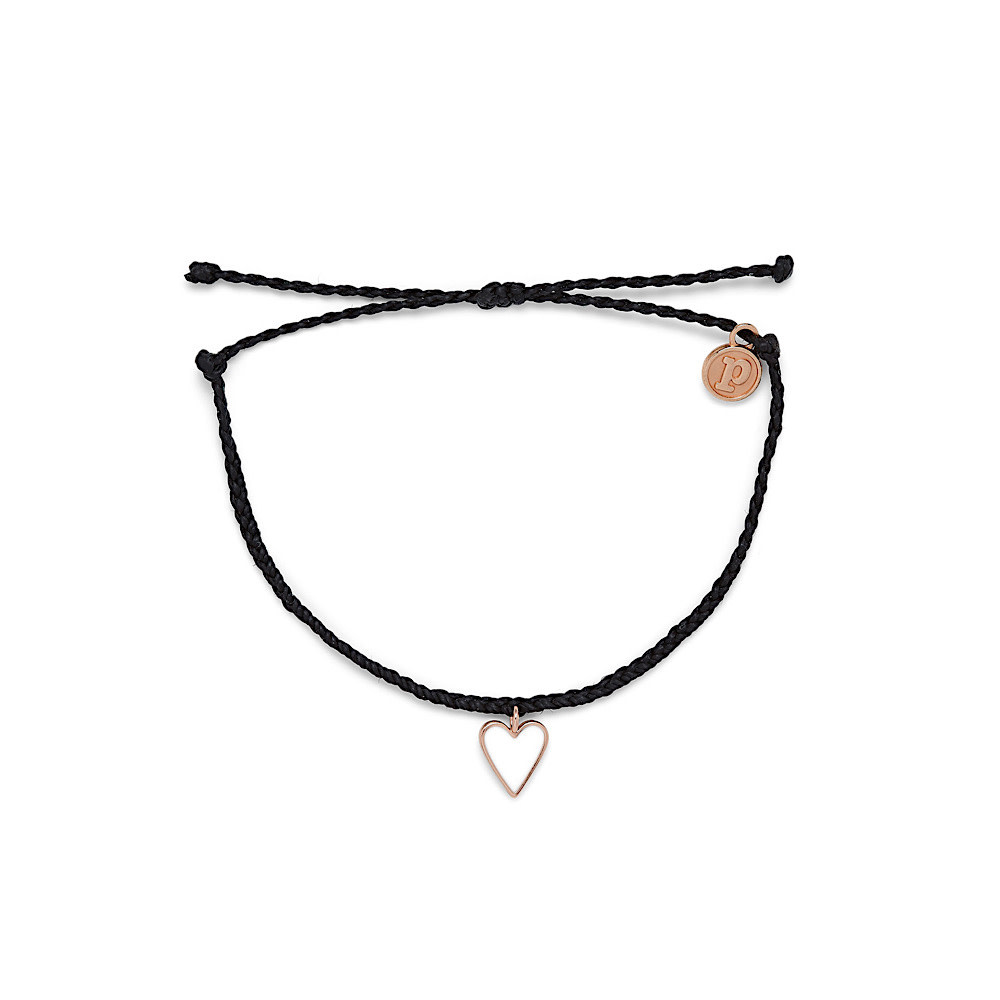 Pura Vida Pura Vida Petite Heart Bracelet - Rose Gold/Black