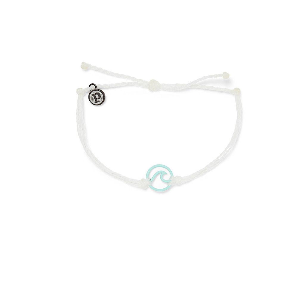 Pura Vida Enamel Wave Bracelet - Aqua/White