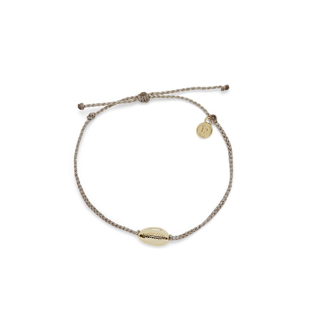 Pura Vida Cowrie Cord Anklet - Gold/Light Grey