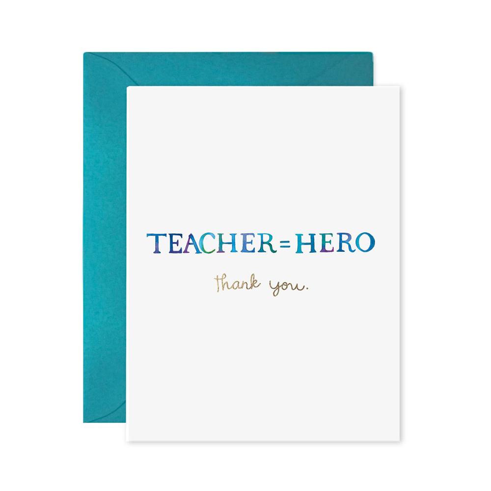 E Frances Teacher Equals Hero Card