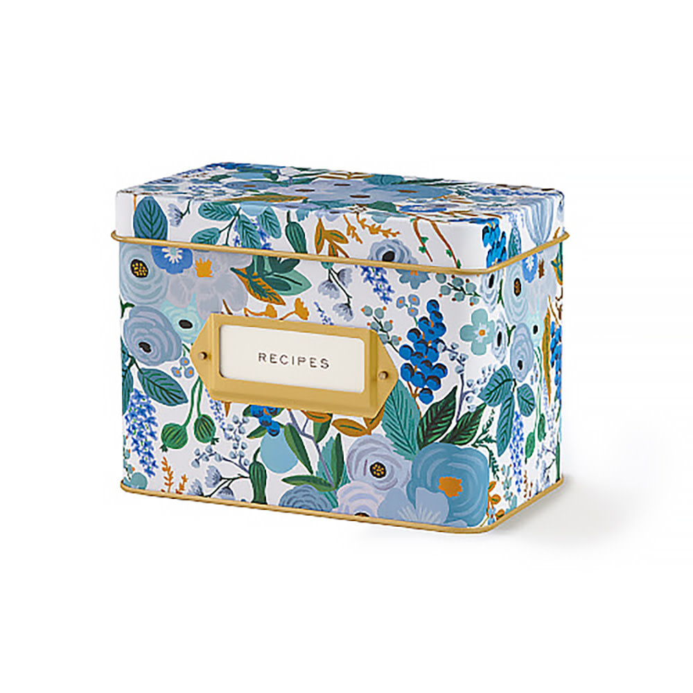 Rifle Paper Co. Tin Recipe Box - Blue Garden Party
