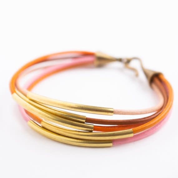 Nest Pretty Things - Pink and Orange Bracelet - 7""
