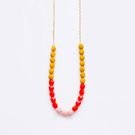 Nest Pretty Things Nest Pretty Things - Bead Strand Necklace - Mustard, Red and Pink