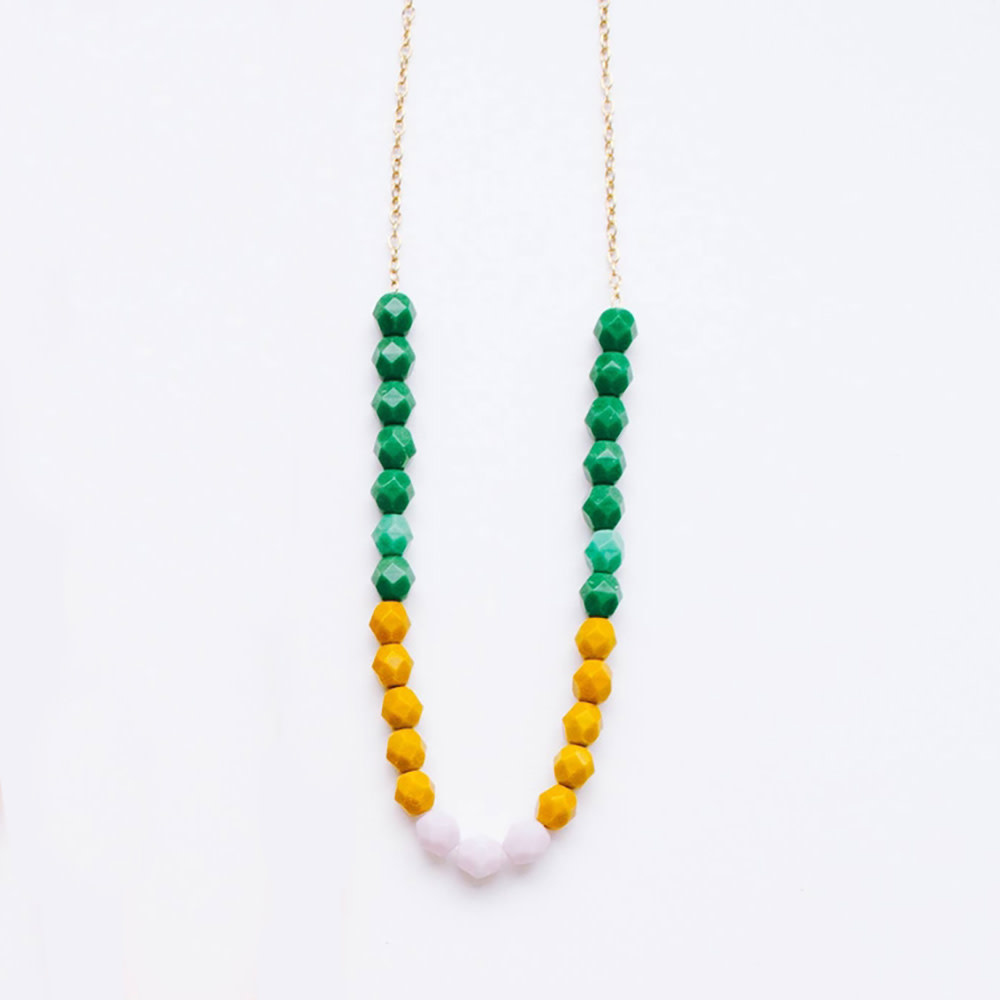 Nest Pretty Things - Bead Strand Necklace - Green, Mustard and Lilac