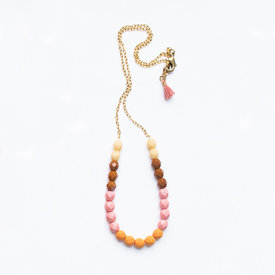 Nest Pretty Things Nest Pretty Things - Bead Necklace - Cream/Pink/Orange