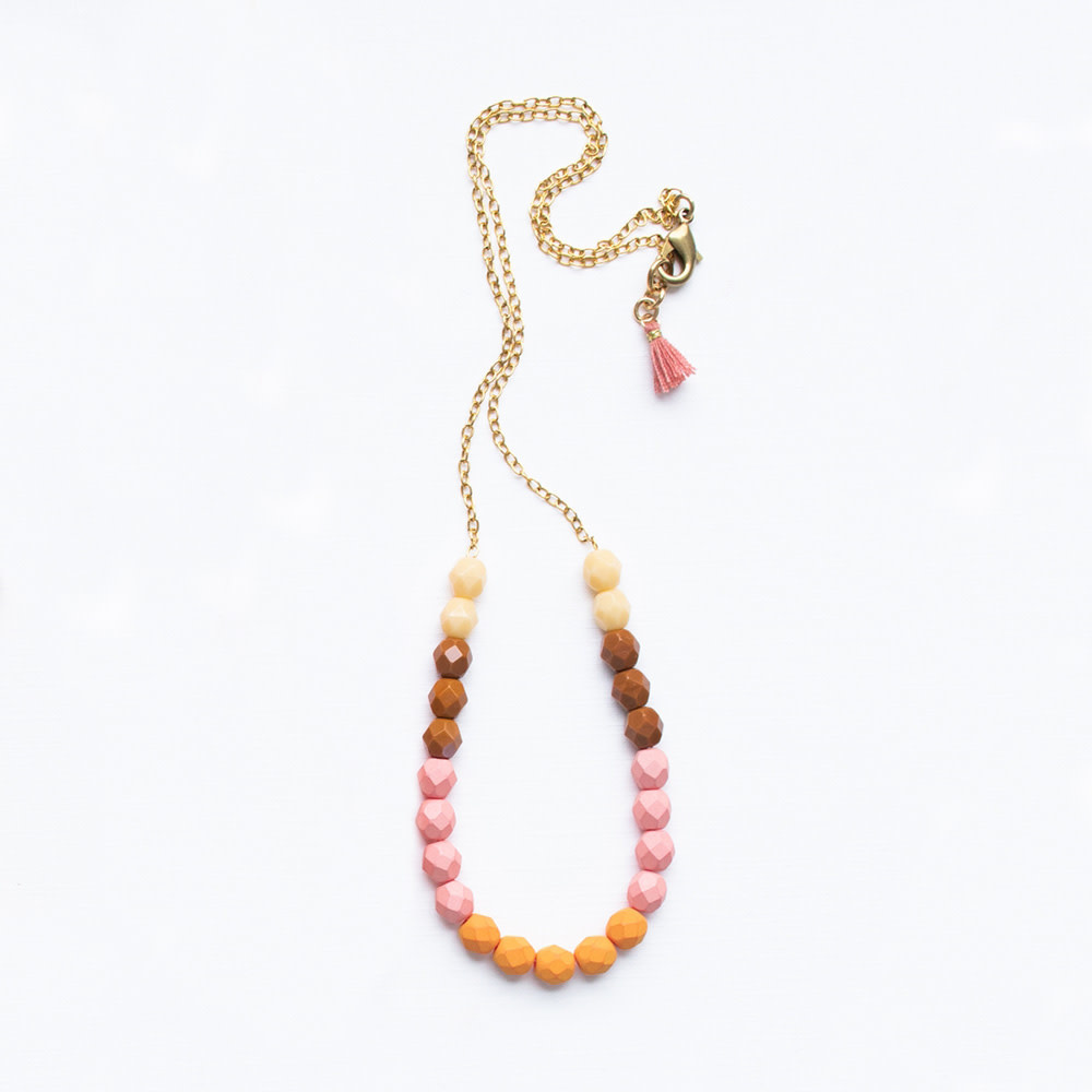 Nest Pretty Things - Bead Necklace - Cream/Pink/Orange
