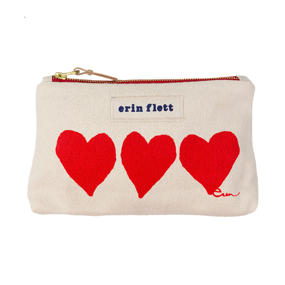 Erin Flett Make Up Zipper Bag - Red Heart - Red Zipper