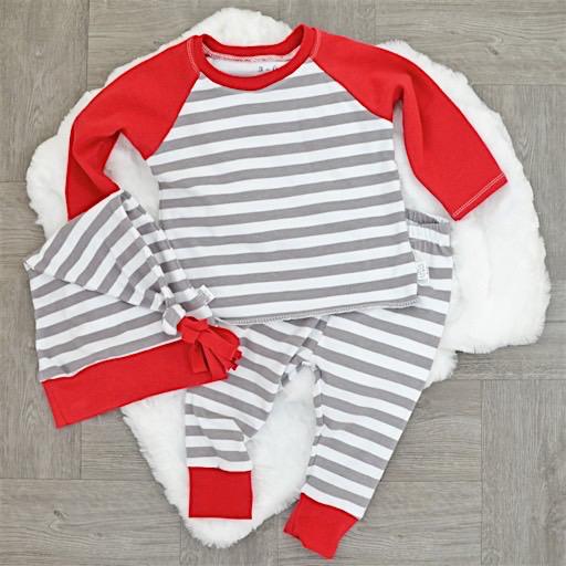 Two Little Beans Leggings - Holiday Red Stripe
