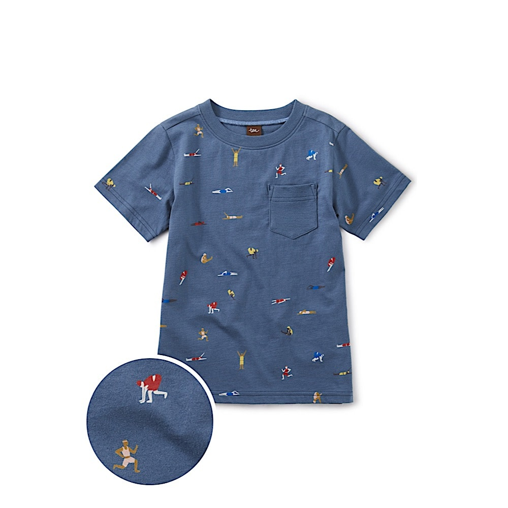 Tea Collection Printed Tee with Rib Pocket - Olympians