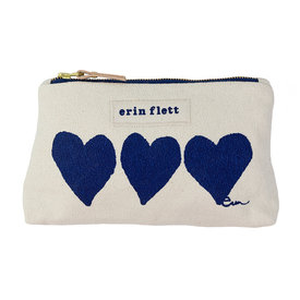 Erin Flett Erin Flett Make Up Zipper Bag - Heart - Navy - Navy Zip