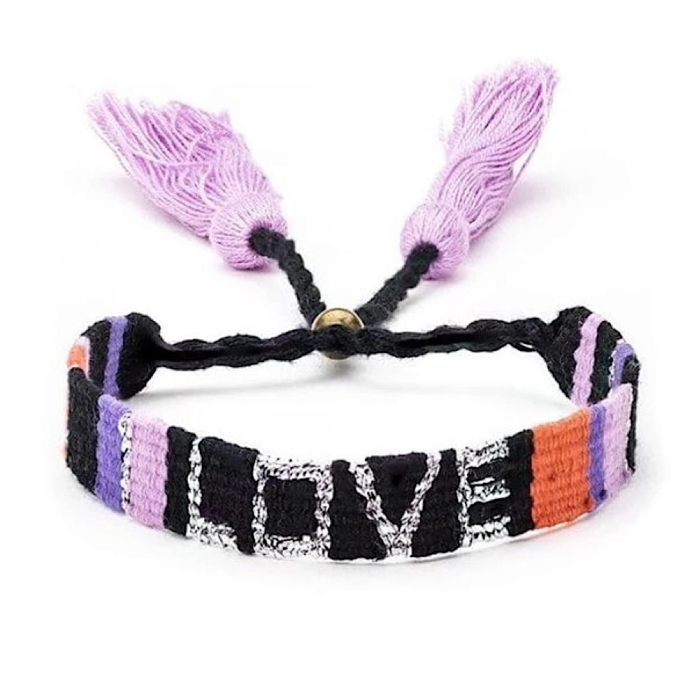 Atitlan LOVE Bracelet - Black & Coral
