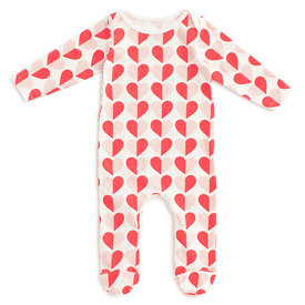 Winter Water Factory Winter Water Factory Footed Romper - Hearts Red & Pink