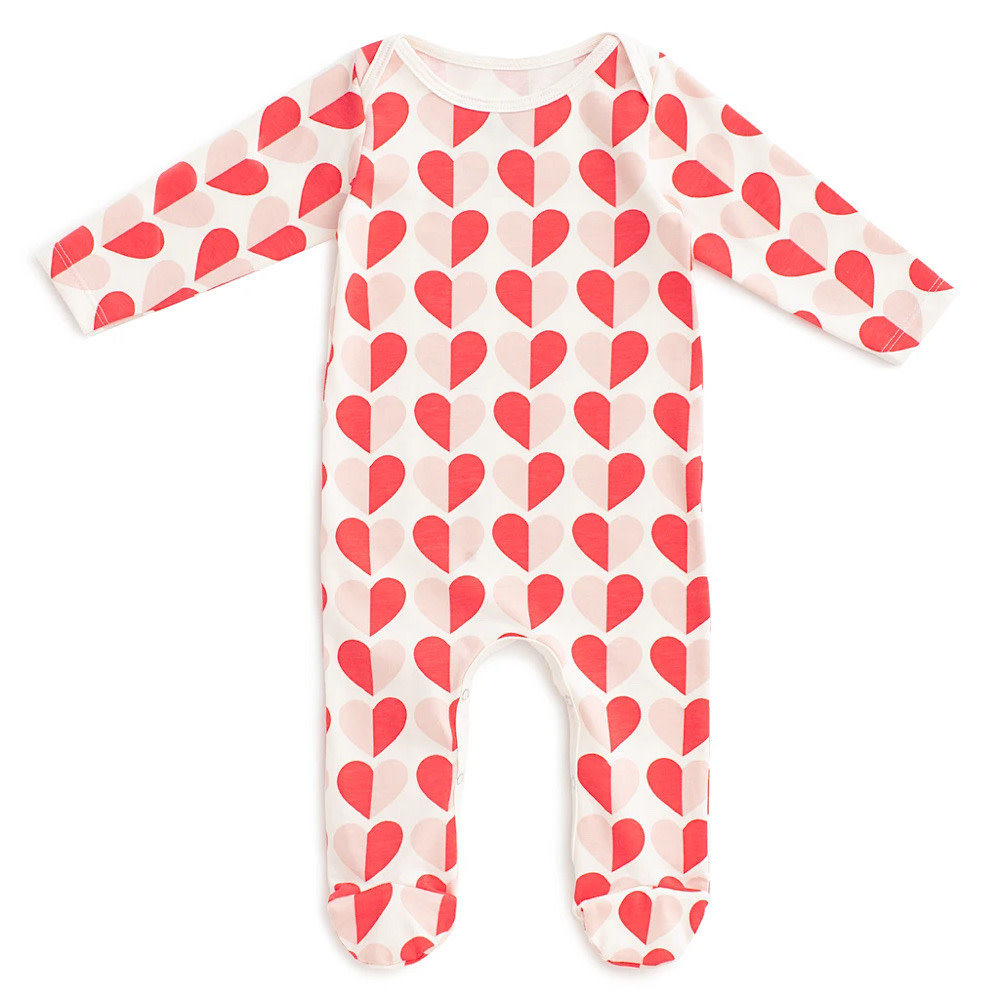 Winter Water Factory Footed Romper - Hearts Red & Pink
