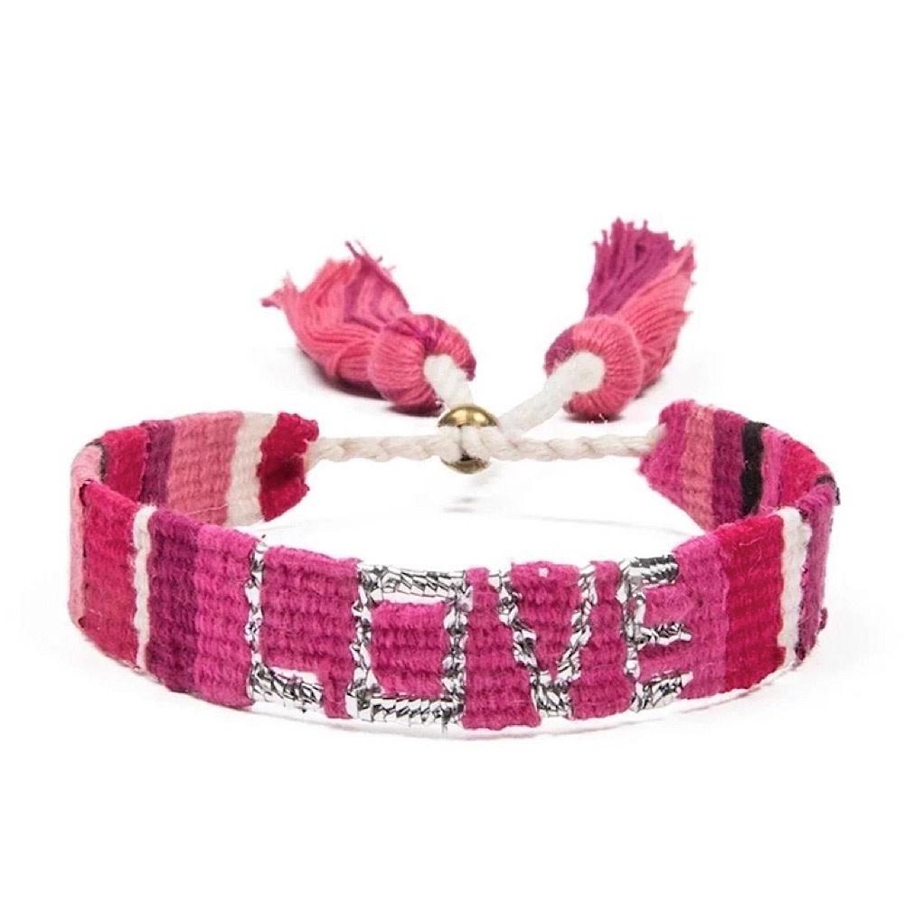 Love Is Project Atitlan LOVE Bracelet - Pink & Red