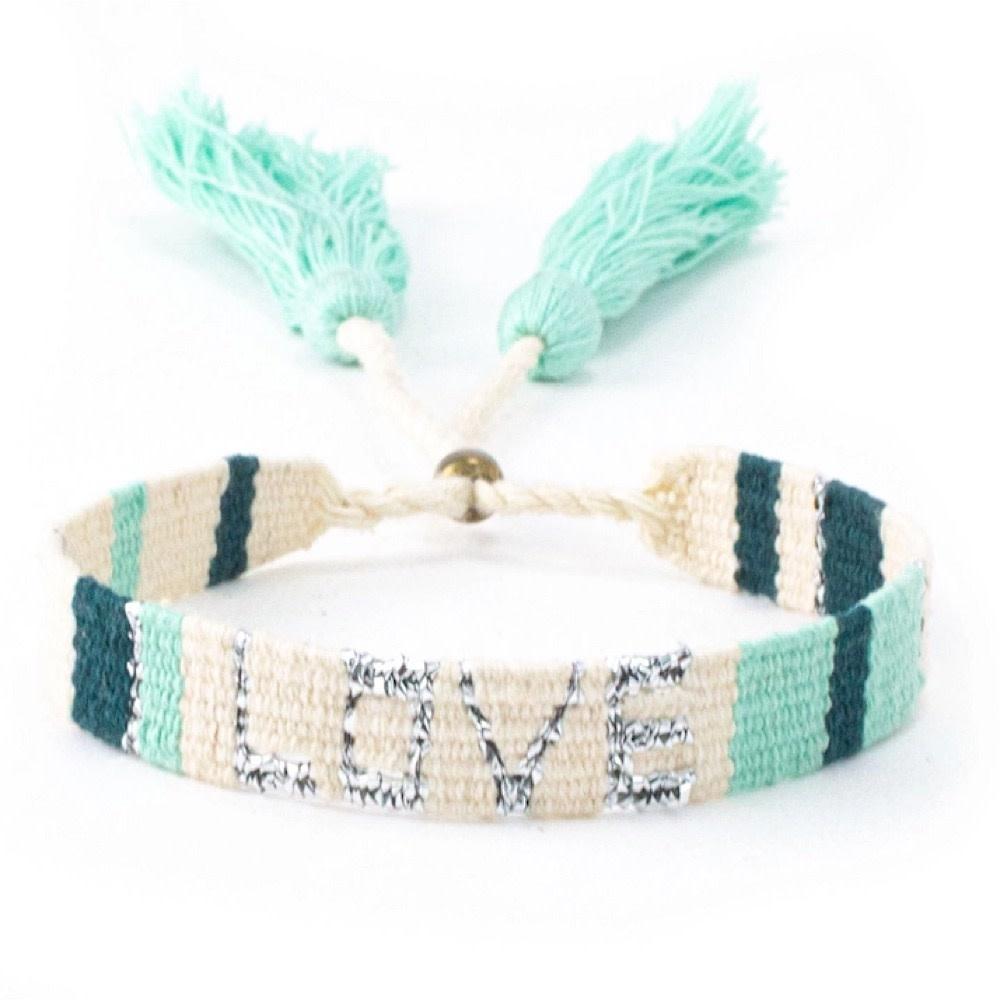 Atitlan LOVE Bracelet - Green & White