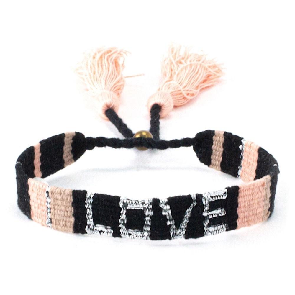 Love Is Project Atitlan LOVE Bracelet - Black & Neutral