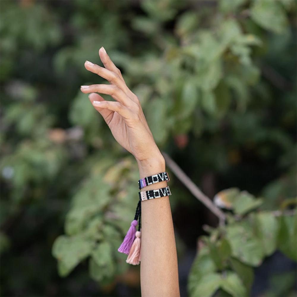Atitlan LOVE Bracelet - Black & Neutral