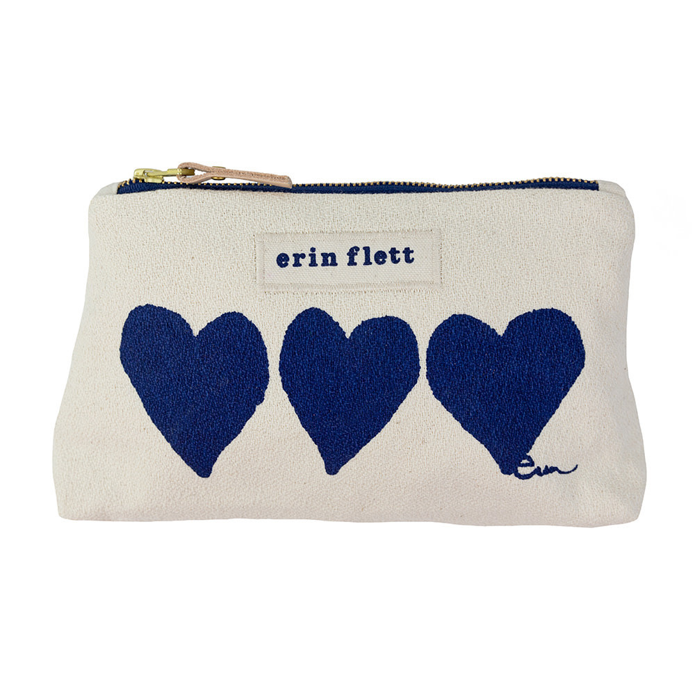 Erin Flett Make Up Zipper Bag - Navy Heart - Navy Zip