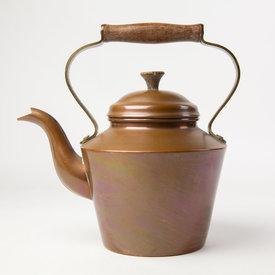 Vintage Vintage Tall Copper Tea Pot - Wood Handle