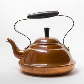 Vintage Vintage Stout Copper Tea Pot - Wood Handle