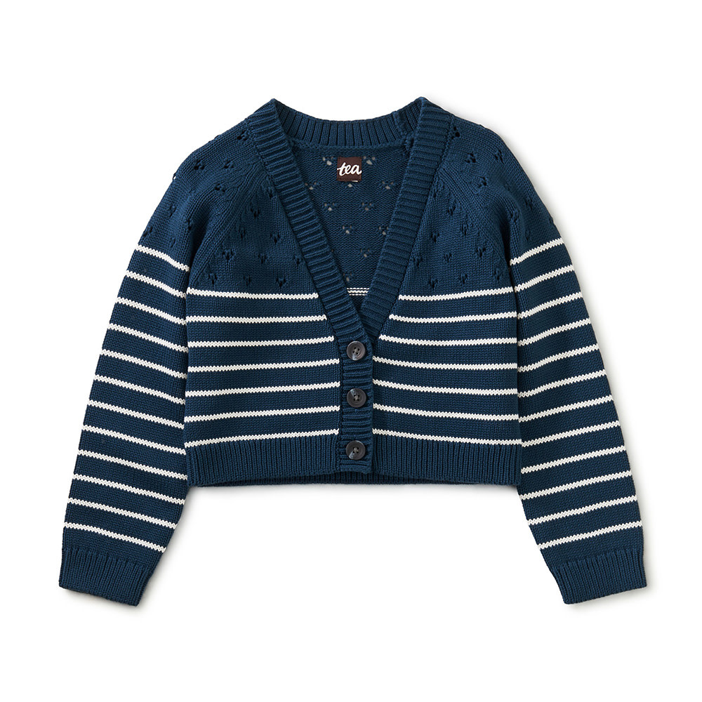 Tea Collection Tea Collection - Pointelle Sweater - Whale Blue