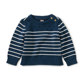 Tea Collection Tea Collection - Mixed Stripe Baby Sweater - Whale Blue