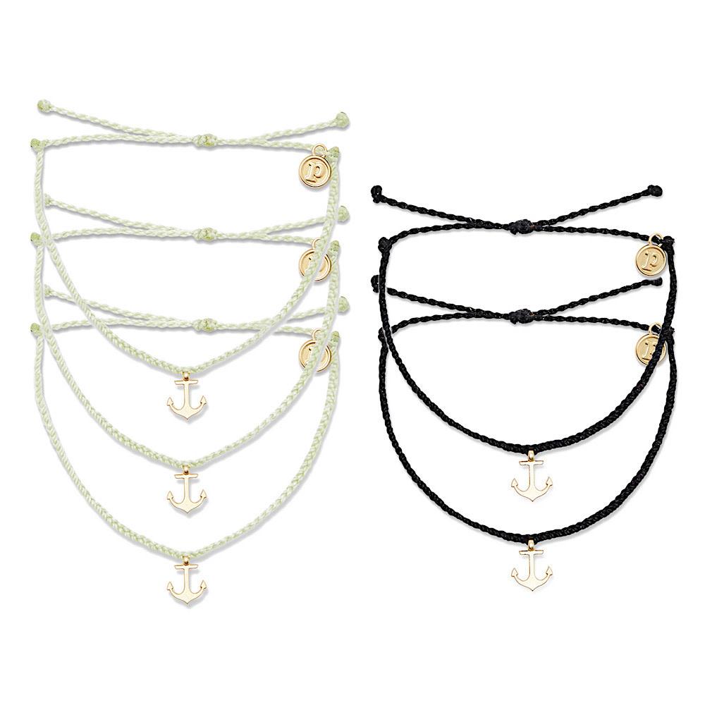 Pura Vida Bitty Charm Bracelet - Gold Anchor - Assorted