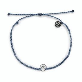 Pura Vida Pura Vida Mini Wave Charm Anklet - Blue Steel/Silver