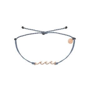 Pura Vida Pura Vida Delicate Wave Bracelet - Rose Gold/Denim