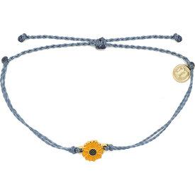 Pura Vida Pura Vida Bracelet - Gold Enamel Sunflower - Blue Steel
