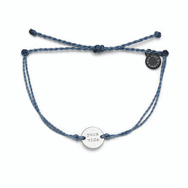 Pura Vida Pura Vida Wave Coin Bracelet - Blue Steel/Silver