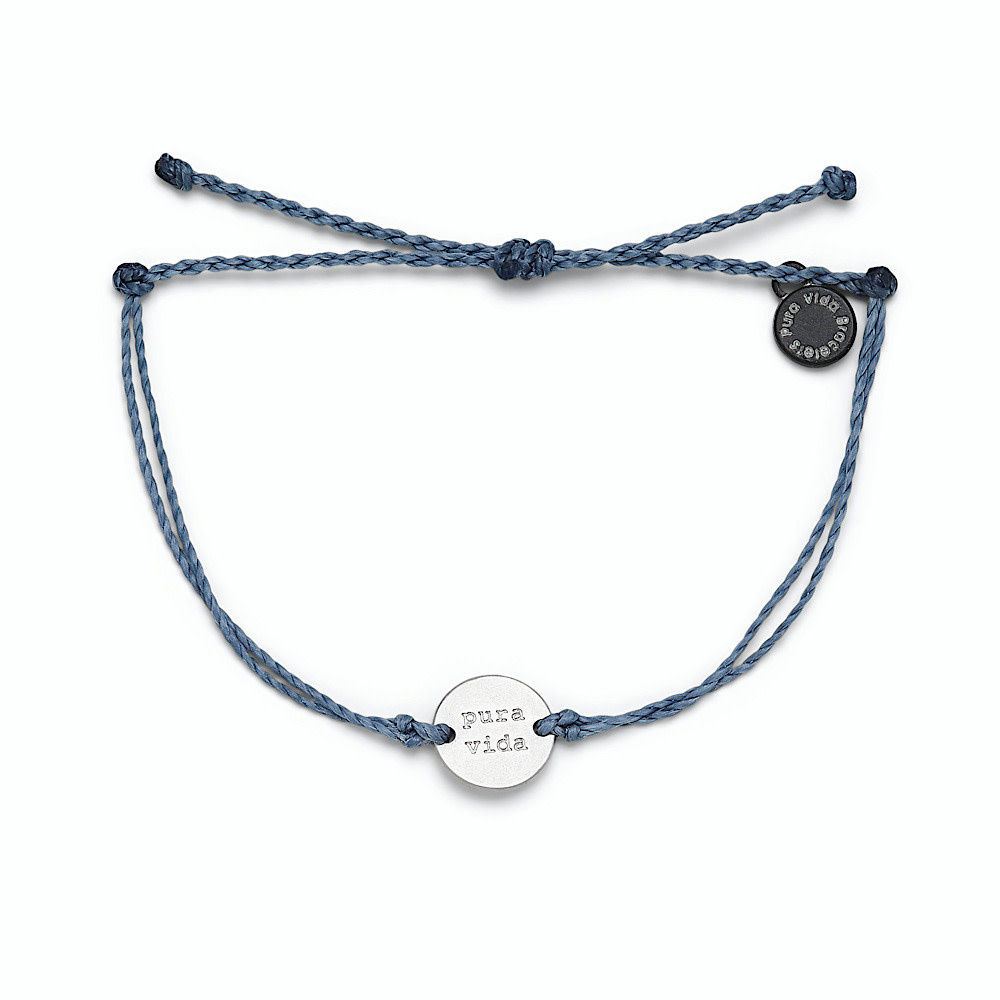 Pura Vida Wave Coin Bracelet - Blue Steel/Silver