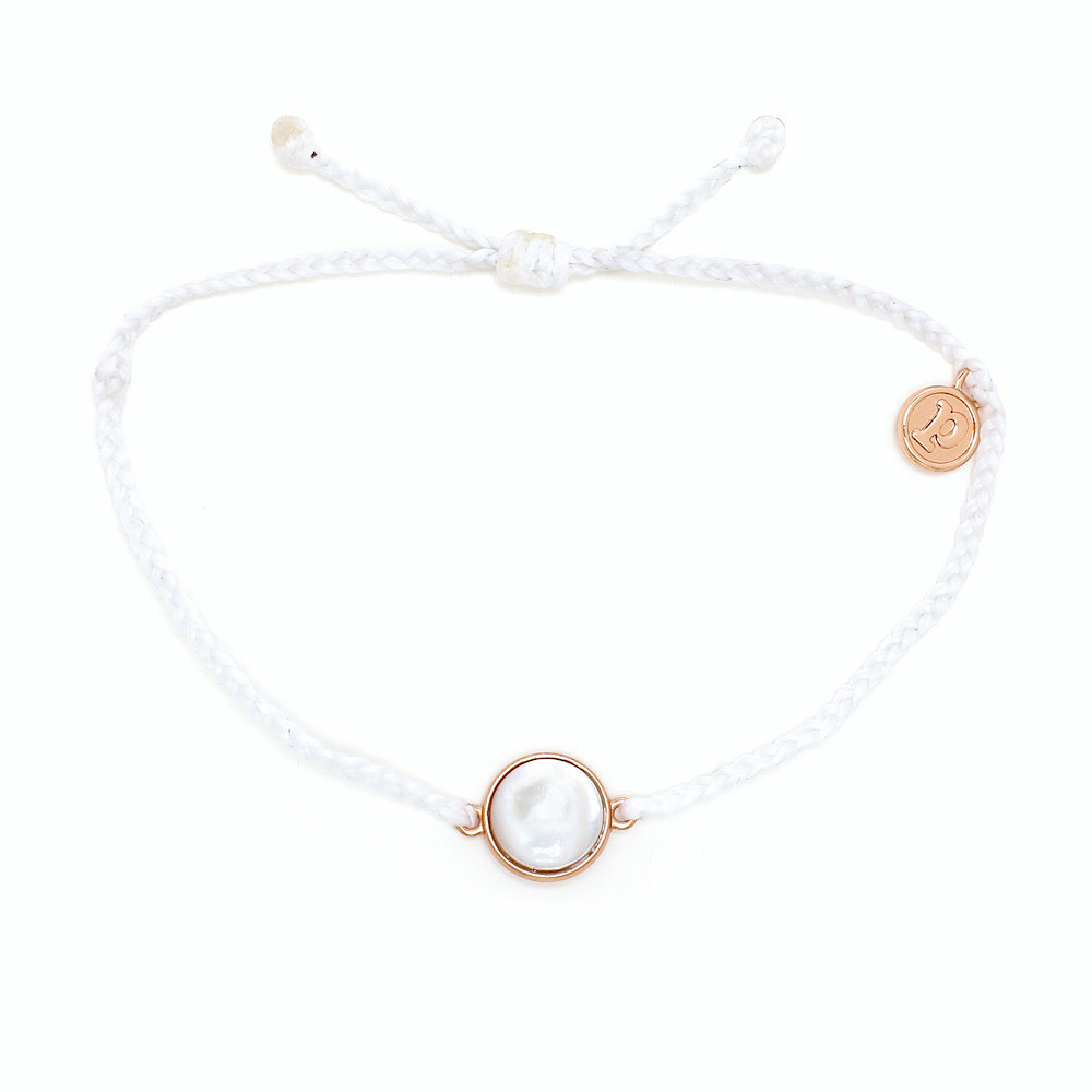 Pura Vida Charm Bracelet Mother of Pearl - White/Rose Gold