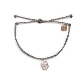Pura Vida Pura Vida Monstera Bracelet - Light Grey/Rose Gold