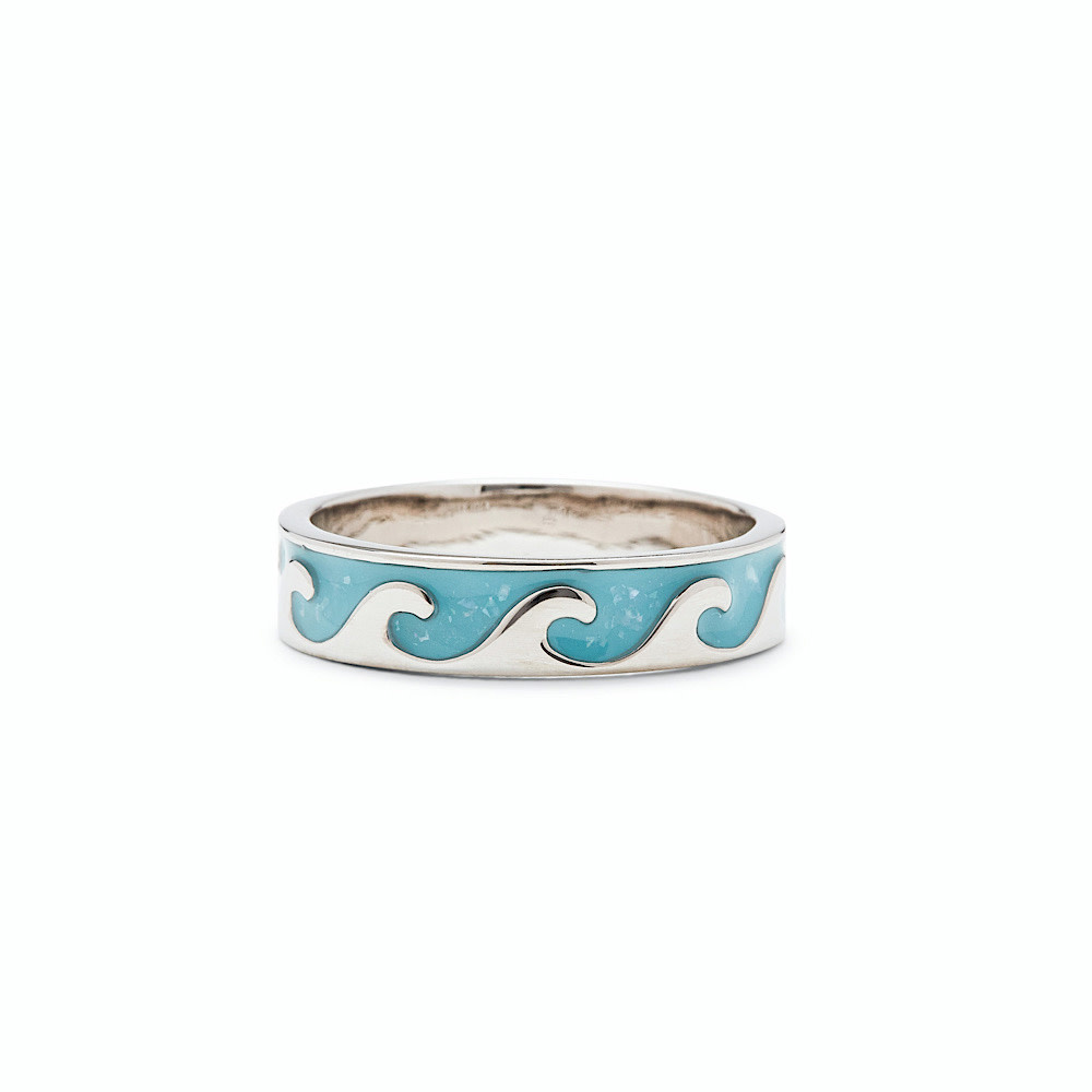 Pura Vida Reversible MOP Wave Ring - Silver