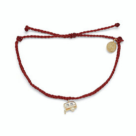 Pura Vida Pura Vida Charm Bracelet On the Road - Dark Red/Gold