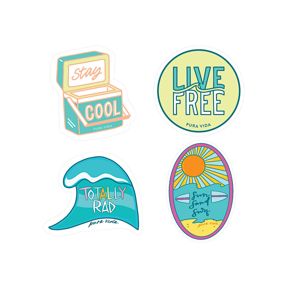 Pura Vida Sticker Set - Surfer Girl