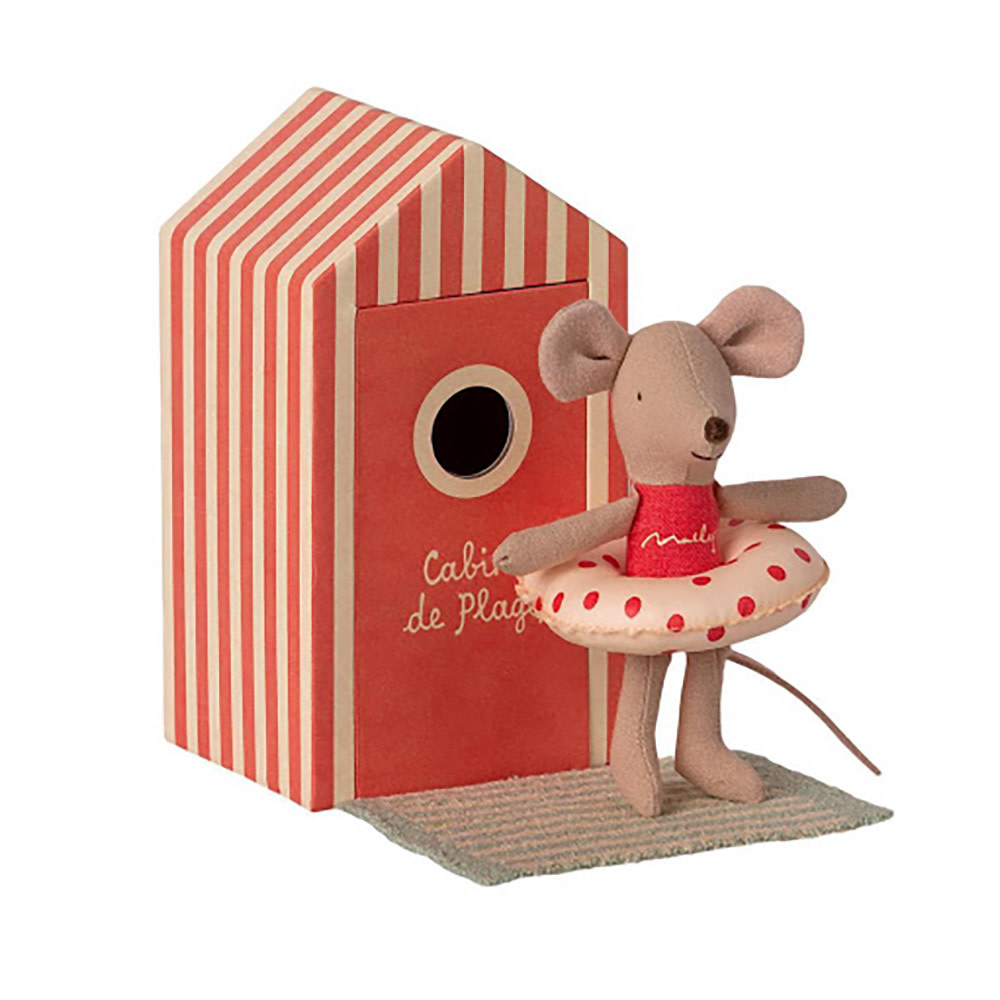 Maileg Maileg Mouse -  Little Sister Mouse in Cabin de Plage