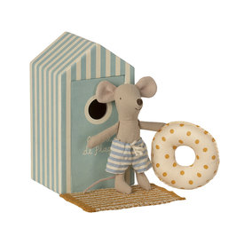 Maileg Maileg Mouse -  Little Brother Mouse in Cabin de Plage