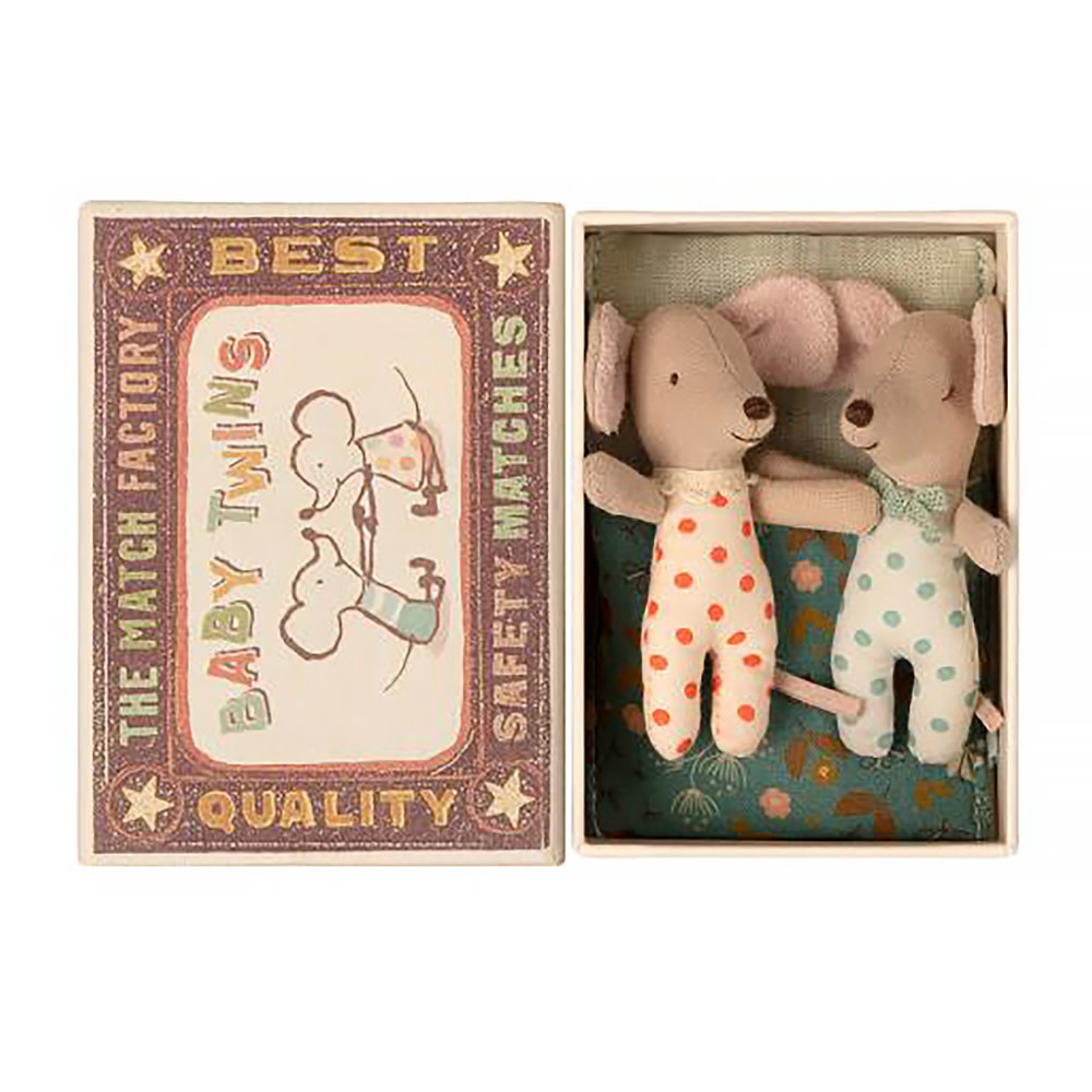Maileg Mouse -  Baby Twins in Box - Polka Dots