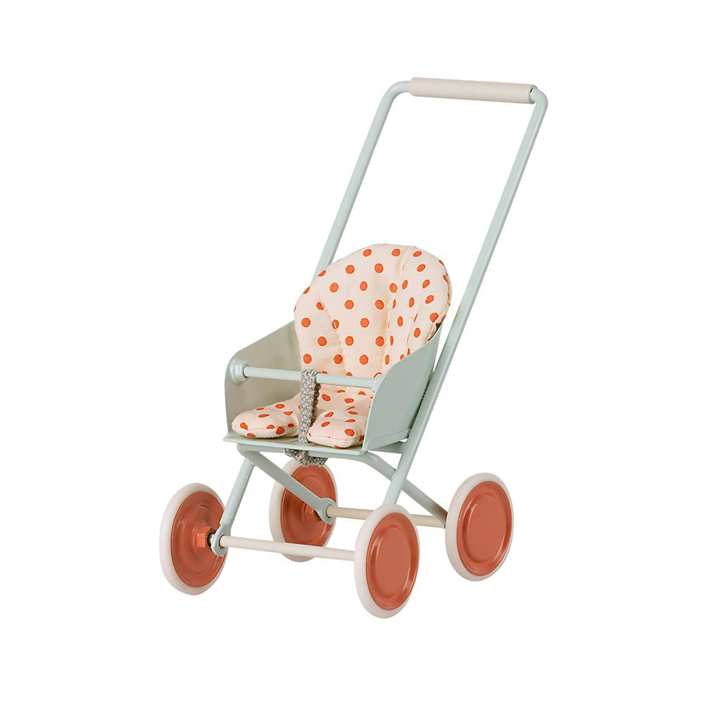 Maileg Micro Stroller - Sky Blue with Polka Dots