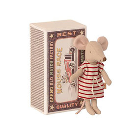Maileg Maileg Mouse - Big Sister in Matchbox - Striped Dress